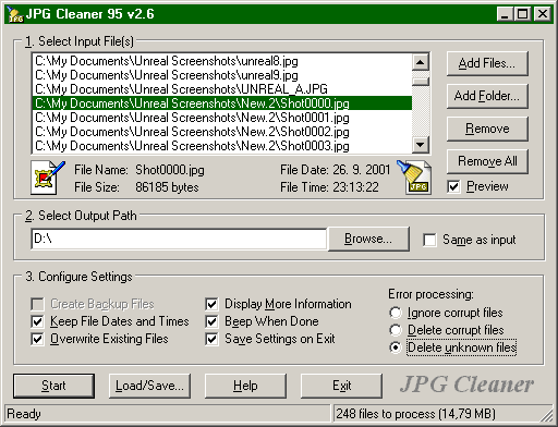 JPG Cleaner v2.6 Screenshot
